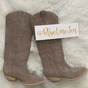 Taupe Calvera Cowboy Western Suede Boots NWOT